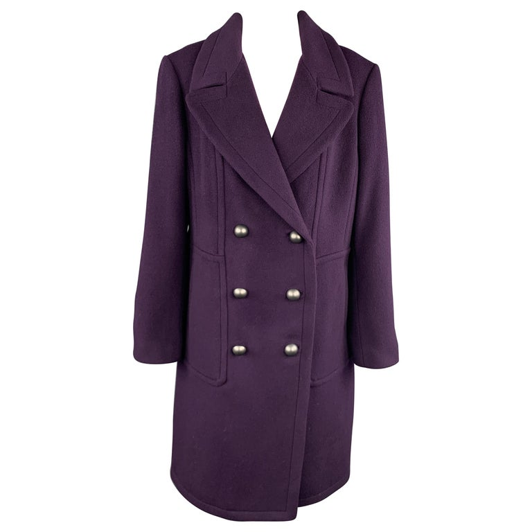 ELIE TAHARI Size L Purple Wool Blend Double Breasted Metal Button Coat For Sale