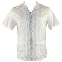 ELIE TAHARI Size M White & Blue Pinstripe Cotton Short Sleeve Shirt