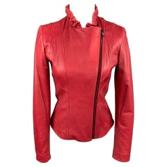 ELIE TAHARI Size XS Red Leather Ruched Collar Jacket