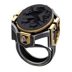 Elie Top Diamond Onyx Gold Seal Secret Cosmogony Earth Ring