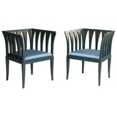 Eliel Saarinen for Adelta Blue Chairs, Finland 1980s, Art Deco Style