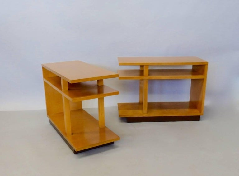 American Eliel Saarinen for Johnson Furniture Architecturally Structured Side Tables For Sale