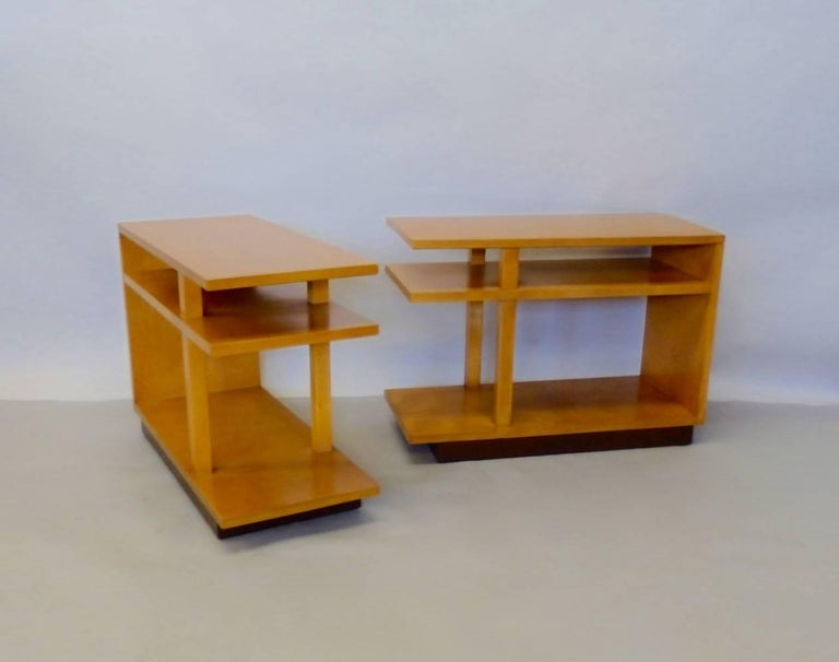 Eliel Saarinen for Johnson Furniture Architecturally Structured Side Tables In Excellent Condition For Sale In Ferndale, MI