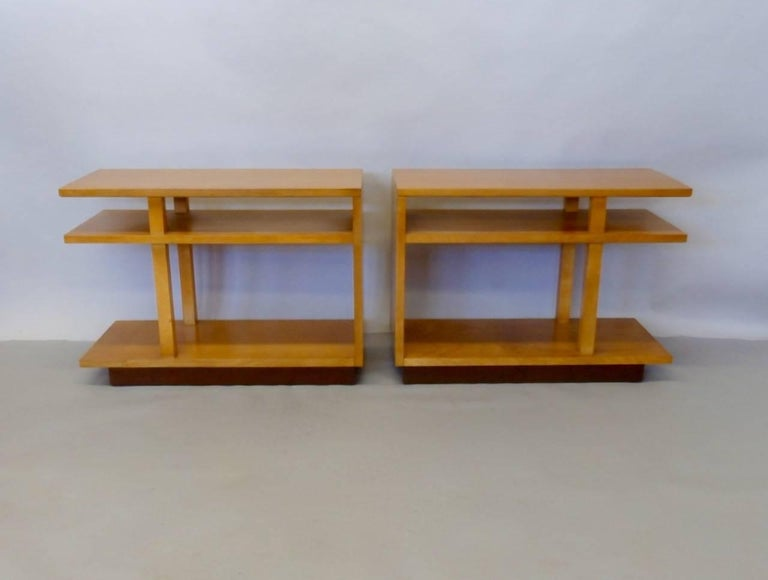 Maple Eliel Saarinen for Johnson Furniture Architecturally Structured Side Tables For Sale