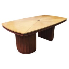 Eliel Saarinen Style Dining Table with Sculpted Bases and Inlay Top