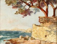 """Italian Coastal Landscape,"" Elihu Vedder, American Symbolism, Impressionism"