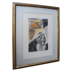 """""""Elijah's Vision"""" Marc Chagall 1930s Pencil Signed Colored Etching 89/100 Framed"""