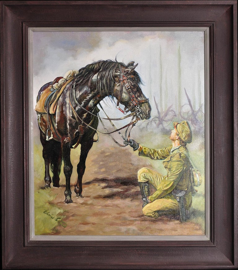 Elin Sian Blake Figurative Painting - Lest We Forget.Original Oil Painting War Horse.Great War WW1 Remembrance Tribute