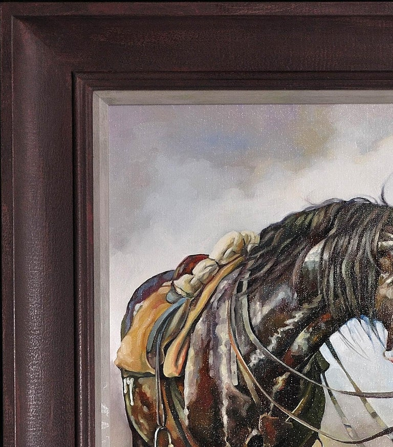 Lest We Forget.Original Oil Painting War Horse.Great War WW1 Remembrance Tribute For Sale 6