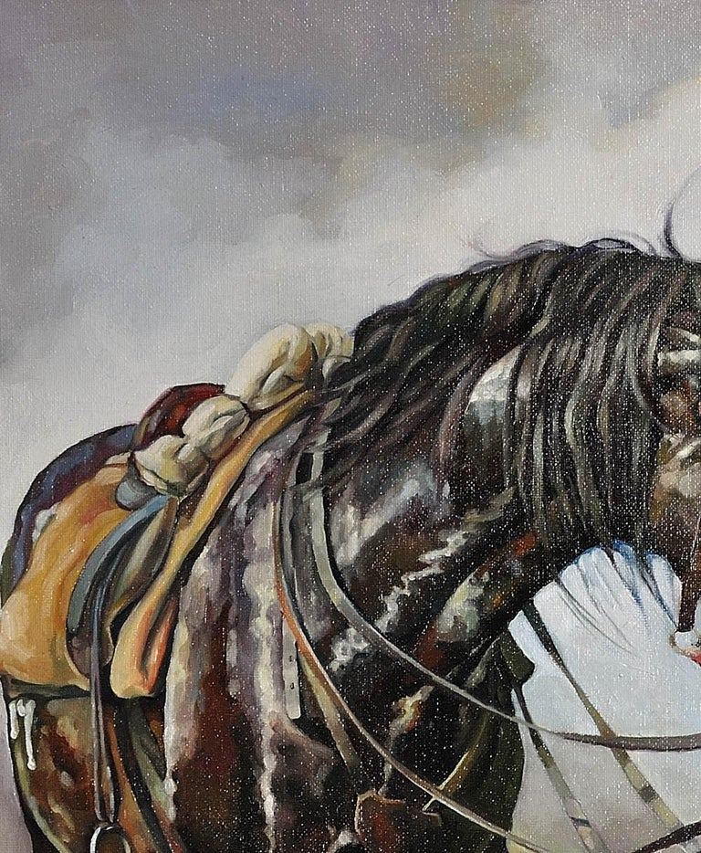 Lest We Forget.Original Oil Painting War Horse.Great War WW1 Remembrance Tribute For Sale 7