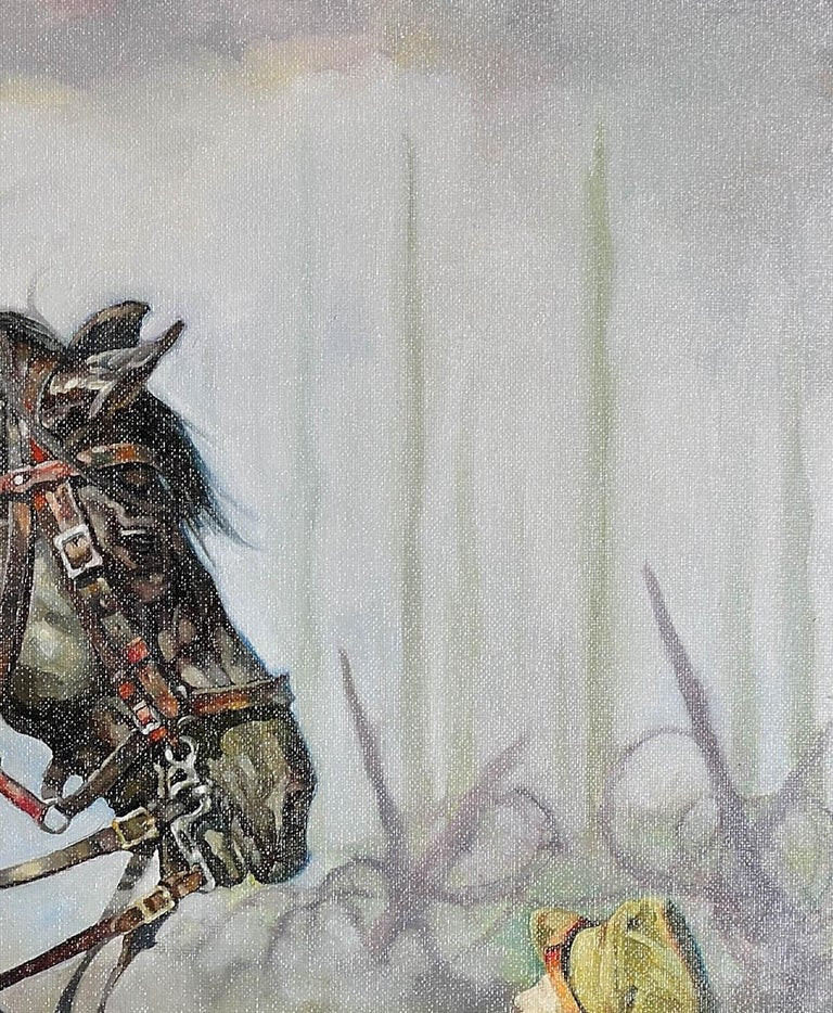 Lest We Forget.Original Oil Painting War Horse.Great War WW1 Remembrance Tribute For Sale 8