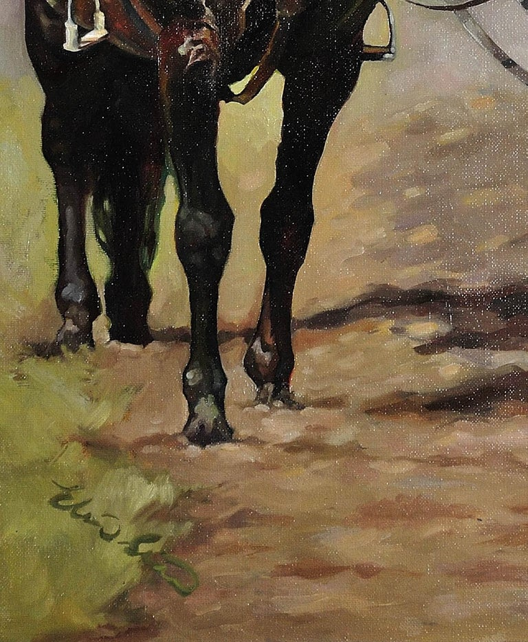 Lest We Forget.Original Oil Painting War Horse.Great War WW1 Remembrance Tribute For Sale 9
