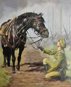 Lest We Forget.Original Oil Painting War Horse.Great War WW1 Remembrance Tribute