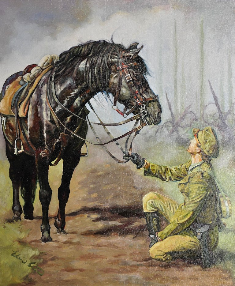 Lest We Forget.Original Oil Painting War Horse.Great War WW1 Remembrance Tribute - Brown Figurative Painting by Elin Sian Blake
