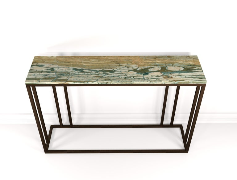 English Elio Console in Antique Brass Structure and Marble Surface For Sale