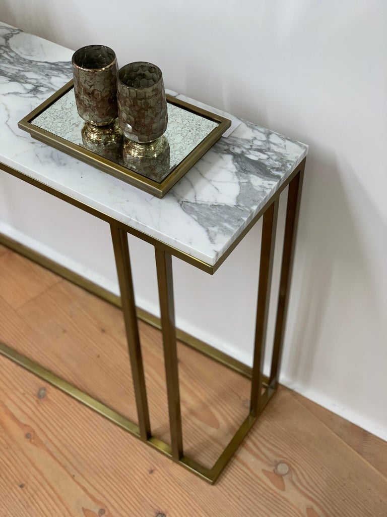 Patinated Elio Console in Antique Brass Structure and Marble Surface For Sale