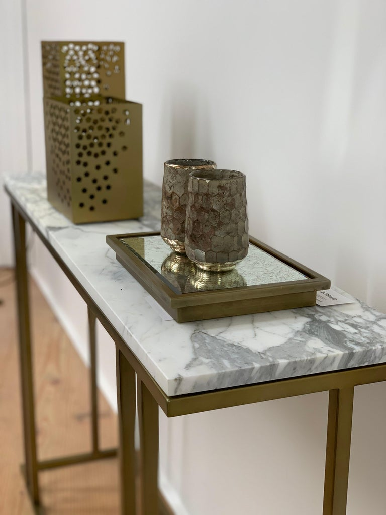 Stainless Steel Elio Console in Antique Brass Structure and Marble Surface For Sale