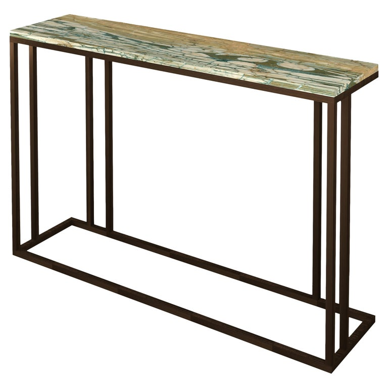 Elio Console in Antique Brass Structure and Marble Surface For Sale