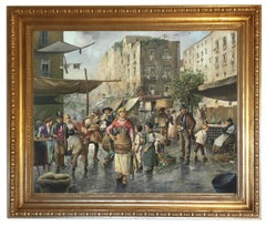 LA VIGILIA DI NATALE - Elio Ferrara Italian figurative oil on canvas painting
