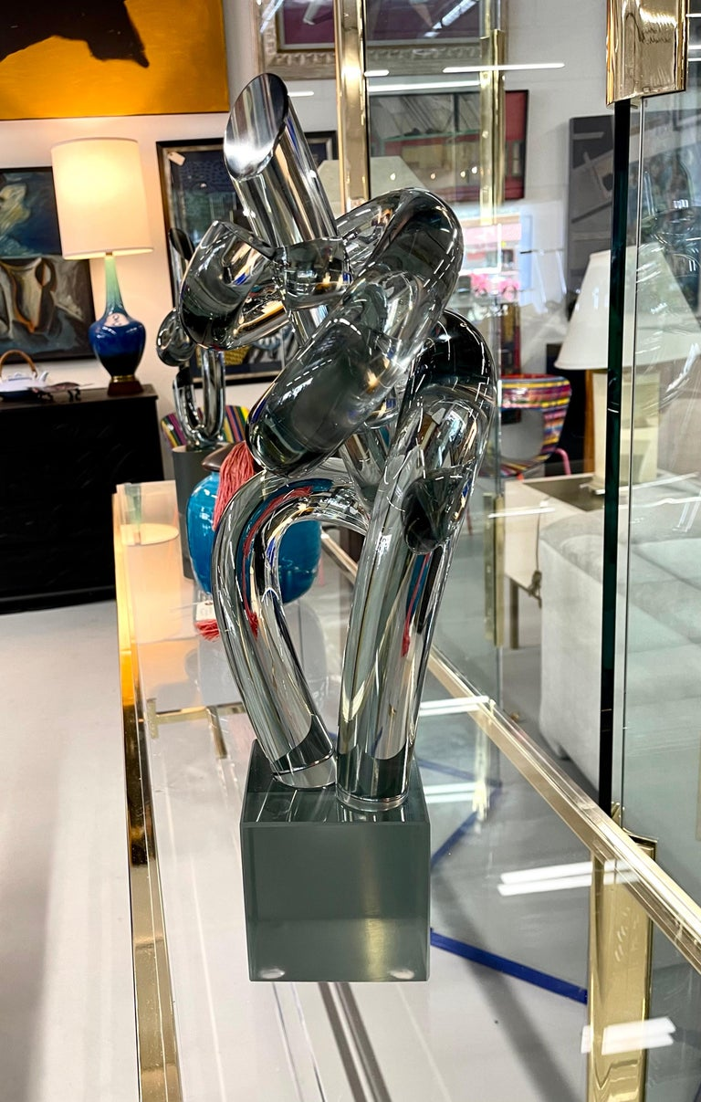 Italian Elio Raffaeli Glass Sculpture For Sale
