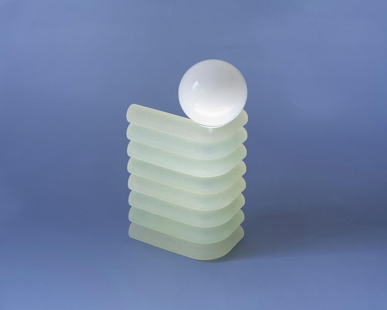 Elio Resin Smart Table Lamp in Aloe by Soft Geometry, Tall In New Condition For Sale In Brooklyn, NY