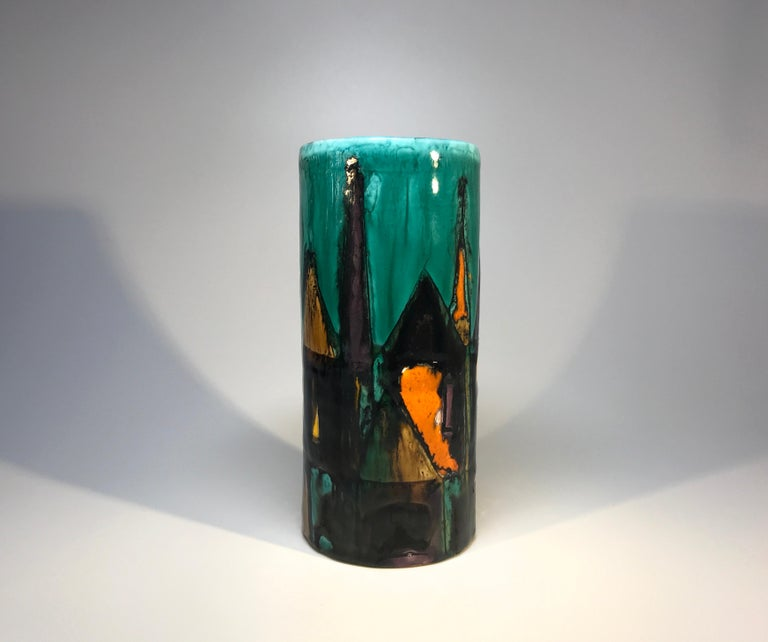 Modernist hand painted ceramic vase by Italian potter Elio Schiavon.