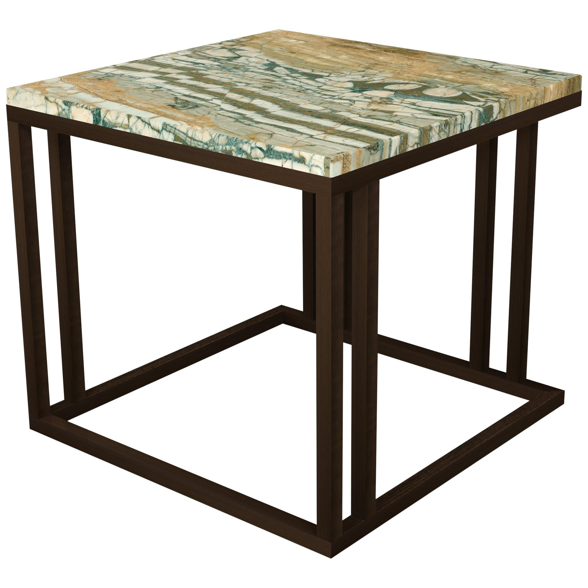 Art Deco Inspired Elio Side Table Dark Bronze Powder Coated Structure & Marble
