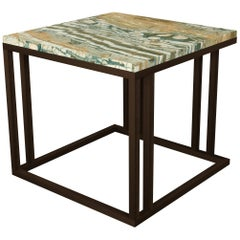 Elio Side Table in Antique Brass Structure and Marble Surface
