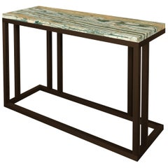 Elio Slim Side Table in Antique Brass Structure and Marble Surface