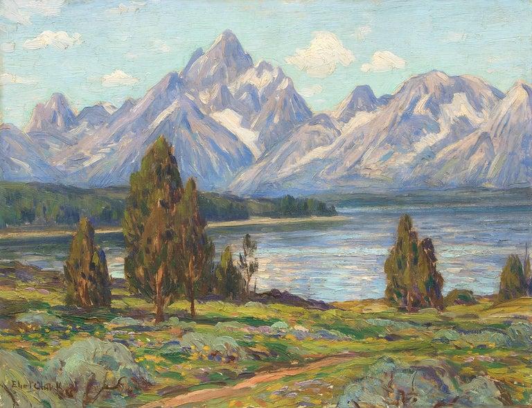 Jackson Lake and Grand Tetons, Wyoming (Mountain Landscape Painting) 1