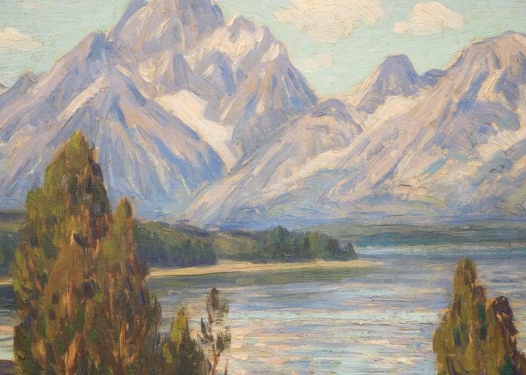 Jackson Lake and Grand Tetons, Wyoming (Mountain Landscape Painting) 3