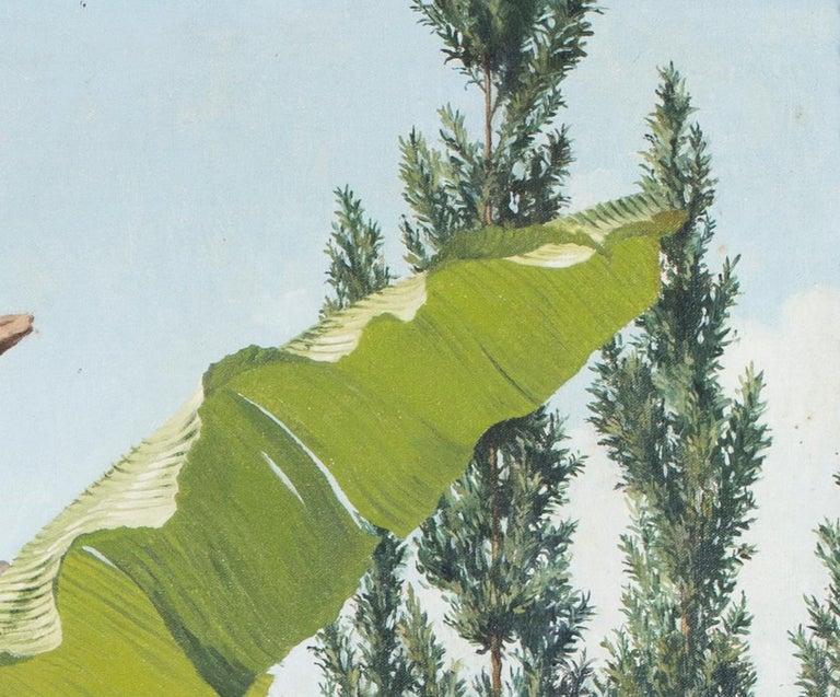 A detailed oil painting of Ticino, Switzerland by British artist Eliot Hodgkin - Brown Landscape Painting by Eliot Hodgkin