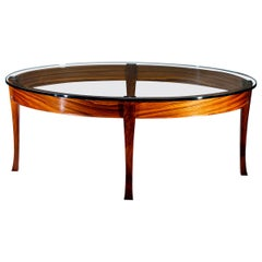 Elipse Glass Top Table in Bolivian Rosewood