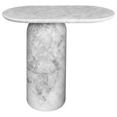 Elipse White Marble Large Side Table