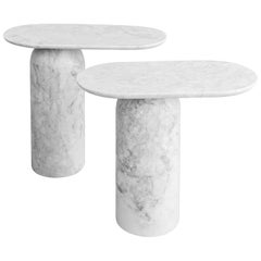 Elipse White Marble Side Tables Set