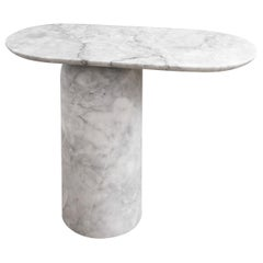 Elipse White Marble Small Side Table