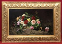 Still Life Flowers and Butterfly - Painting 19th century