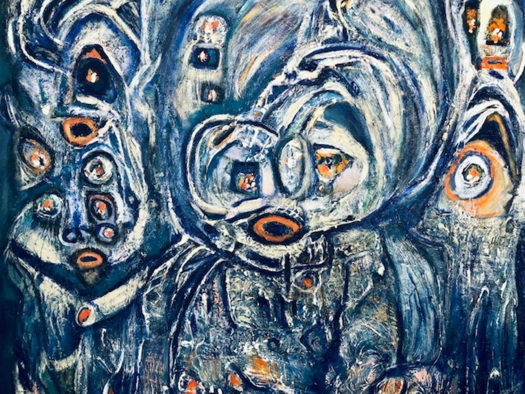Painting, Layers of Paint, Blue, Abstract, Figures, Circles, by Female Artist