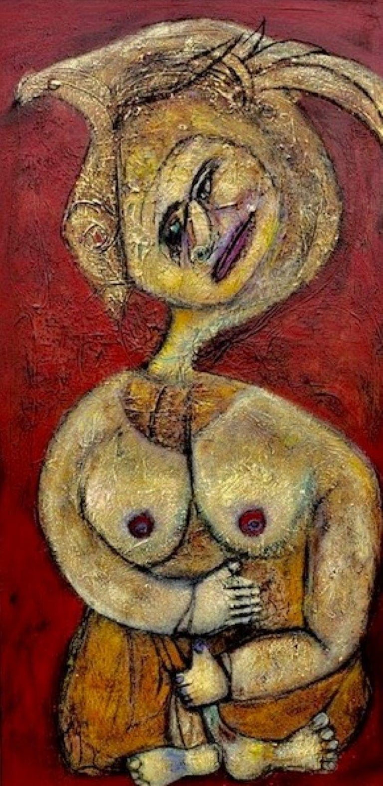 Elisa Valerio Nude Painting - Painting, Layers of Paint, Gold, Red, Female Artist, Queen by Valerio