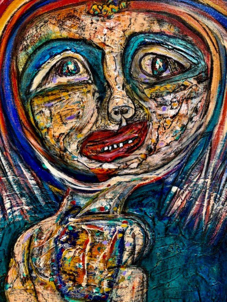 Painting, Bright colors, Expressive, Smile - Mi Bella by Elisa Valerio