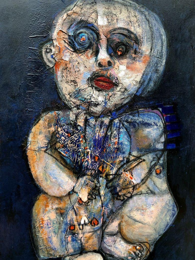 Elisa Valerio Figurative Painting - Moon Child - Painting, Black, Blue, Textured, Eyes, Family, Exhibit by Valerio