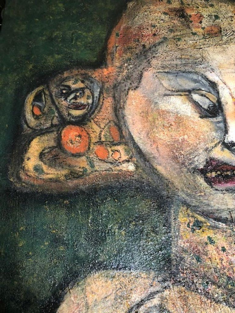 Of The Earth - Painting, Textured, Expressive, Family, Exhibit by Valerio - Black Figurative Painting by Elisa Valerio