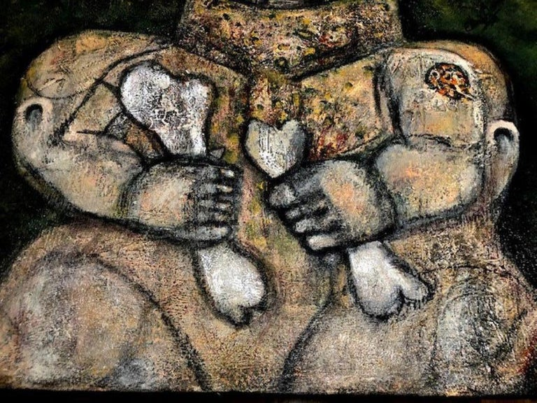 Of The Earth - Painting, Textured, Expressive, Family, Exhibit by Valerio For Sale 1