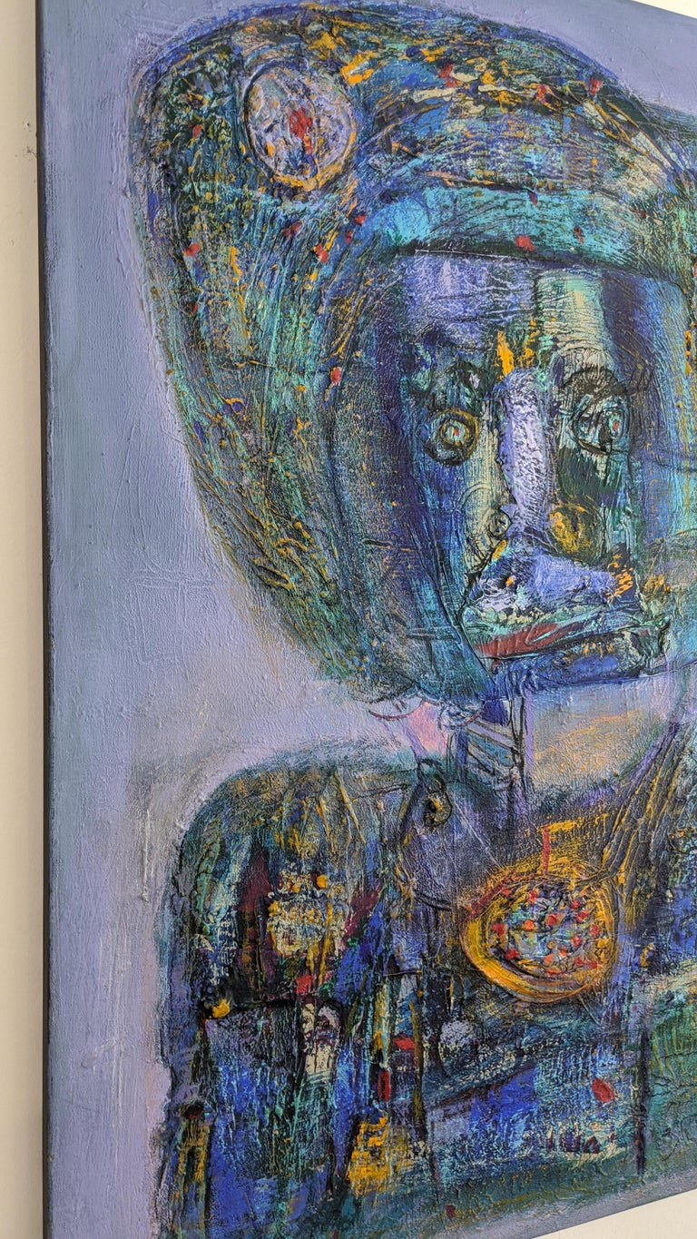 Painting, Layers of Paint, Blue, Gold, Violet, Warrior For Sale 4