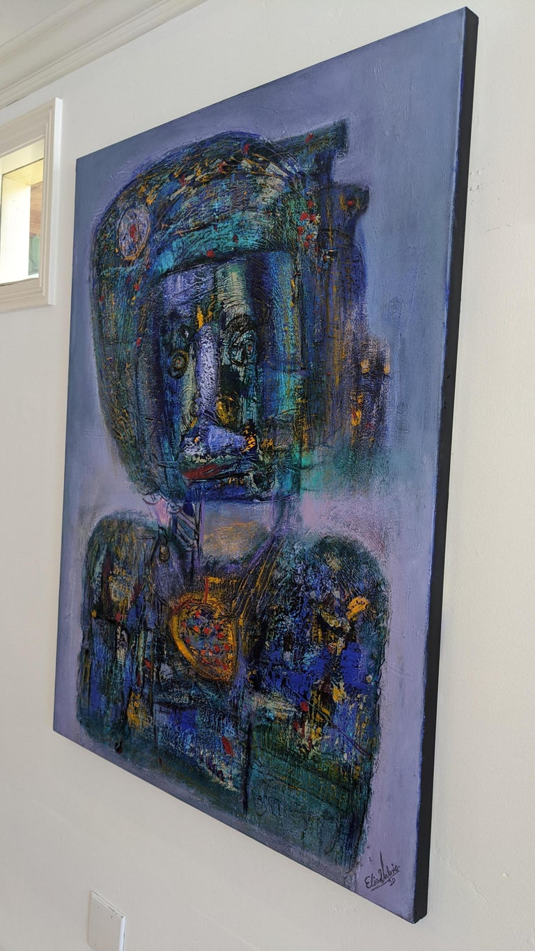 Painting, Layers of Paint, Blue, Gold, Violet, Warrior For Sale 5
