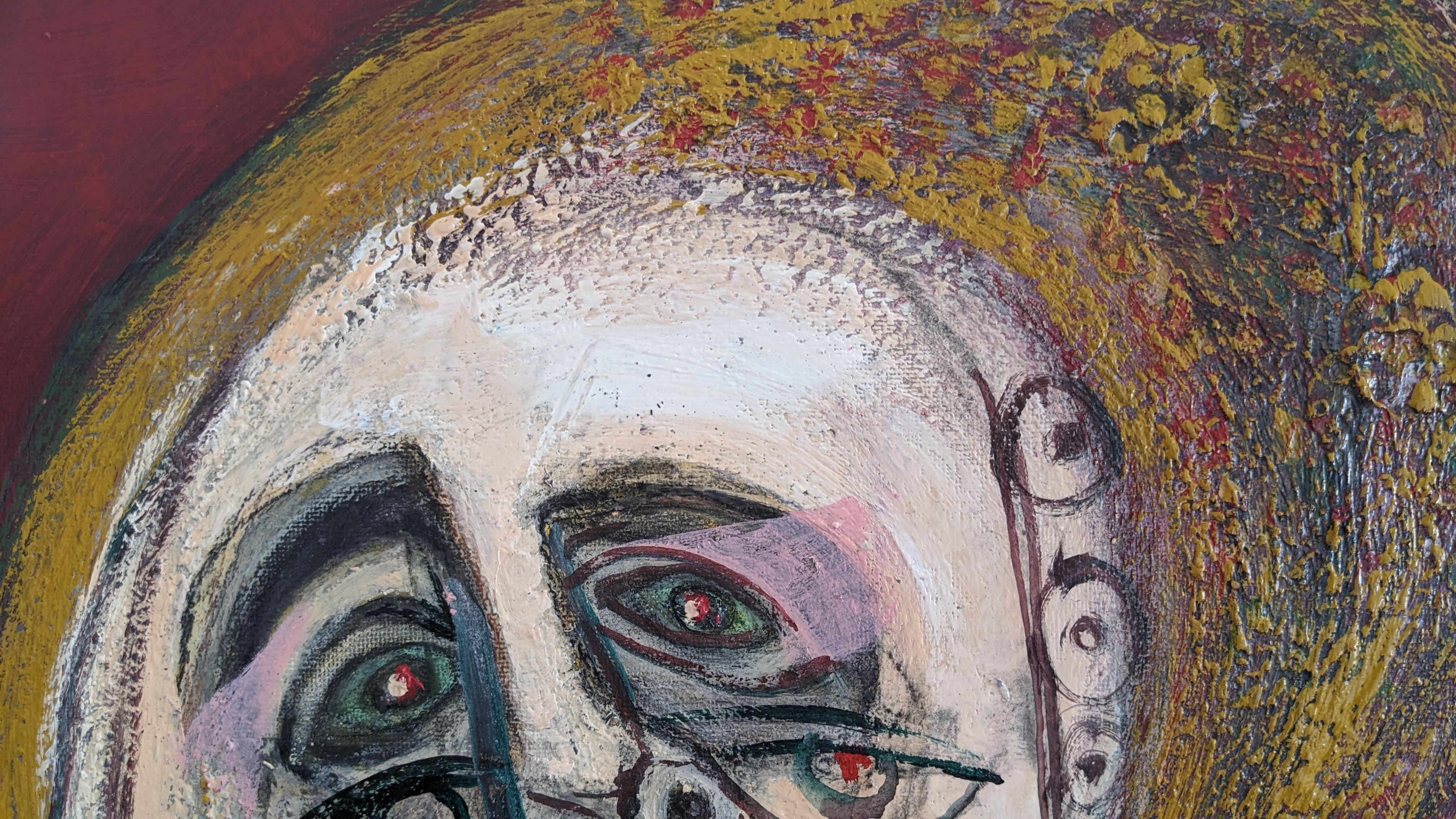 Painting, Layers of Paint, Gold, Red, Eye Glasses, Female Artist,