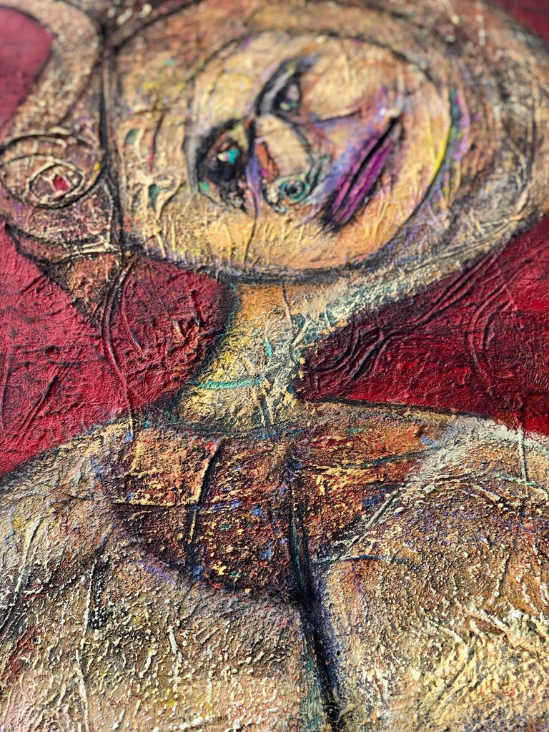 Painting, Layers of Paint, Gold, Red, Female Artist, Queen by Valerio - Black Nude Painting by Elisa Valerio