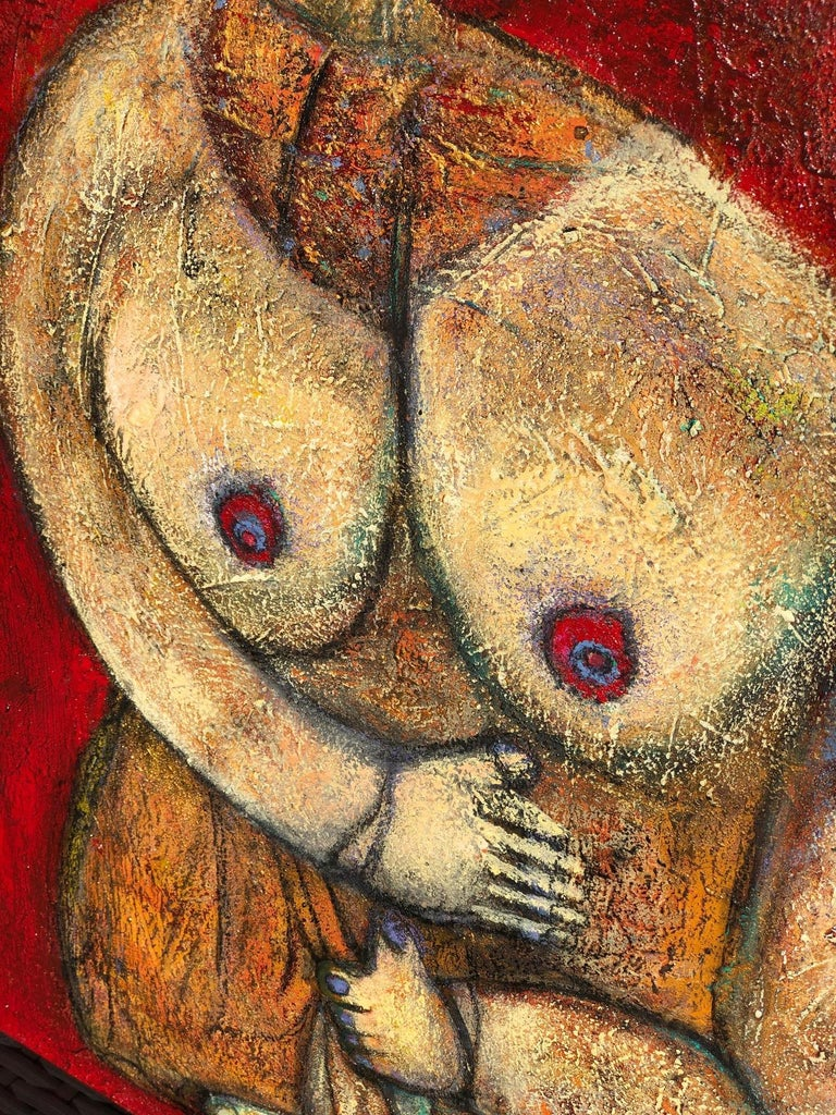 Painting, Layers of Paint, Gold, Red, Female Artist, Queen by Valerio For Sale 1