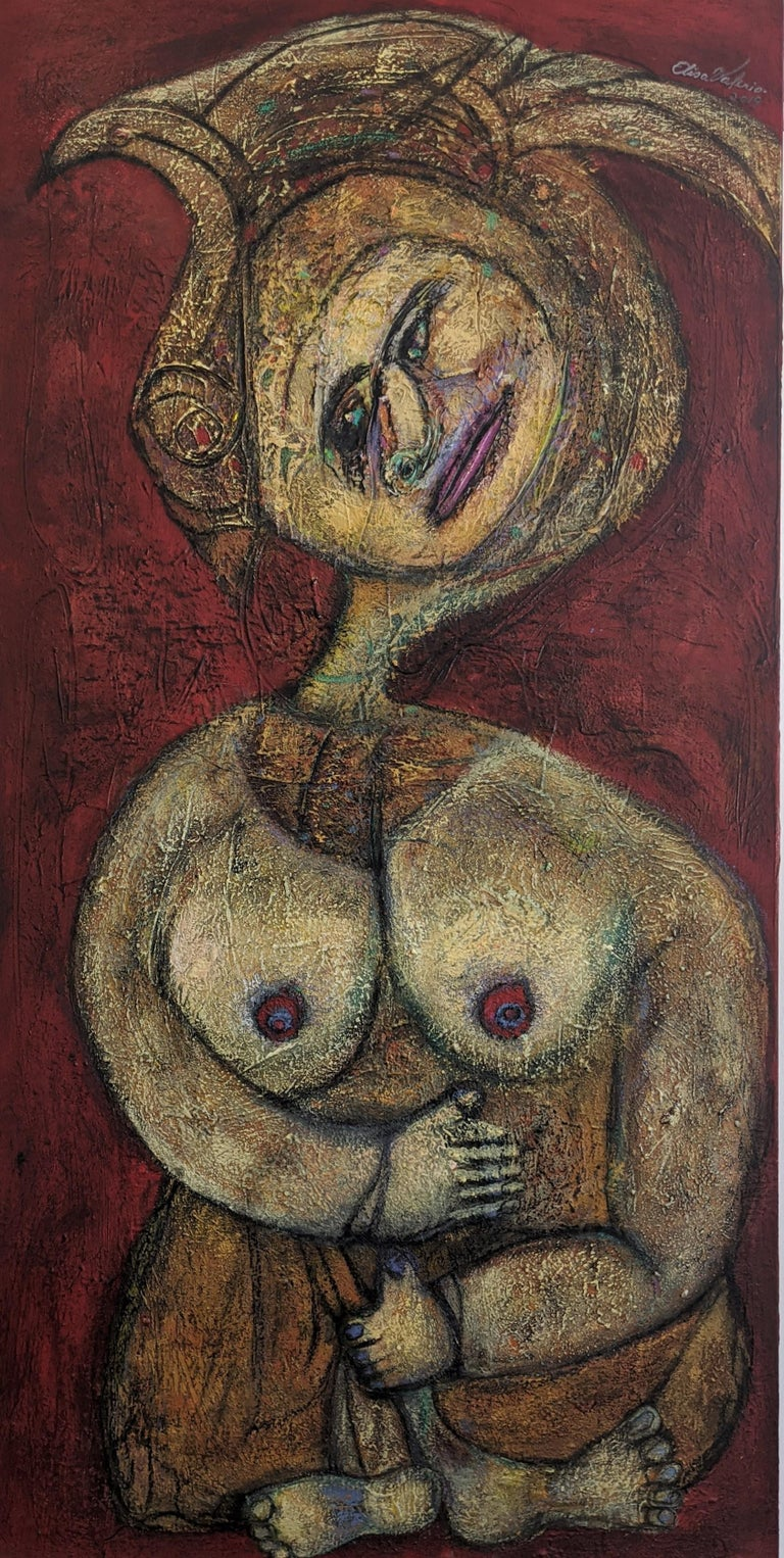 Painting, Layers of Paint, Gold, Red, Female Artist, Queen by Valerio For Sale 2