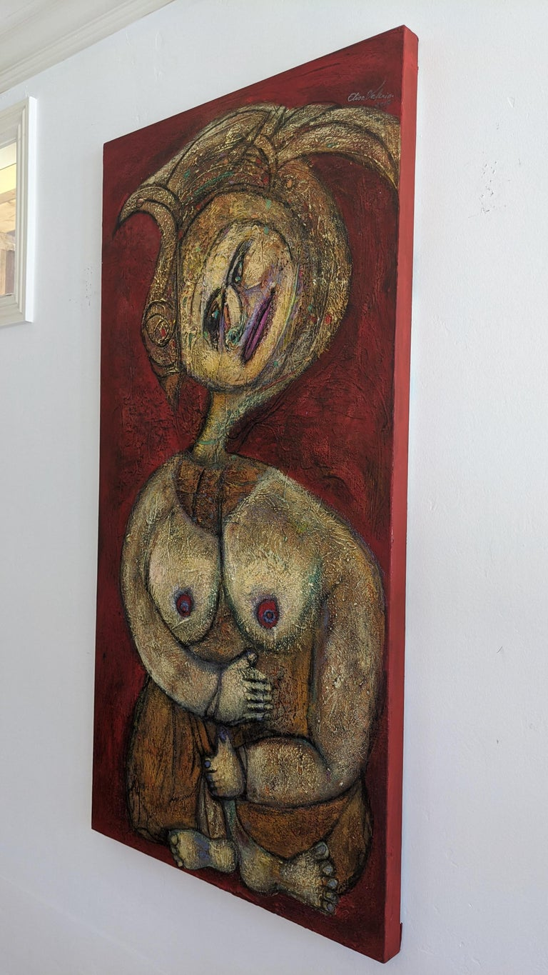 Painting, Layers of Paint, Gold, Red, Female Artist, Queen by Valerio For Sale 3